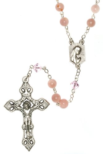 Silver Rosary made with Pink Opal Gemstones & Swarovski Crystal elements (Gem Stone Rosary compare prices)
