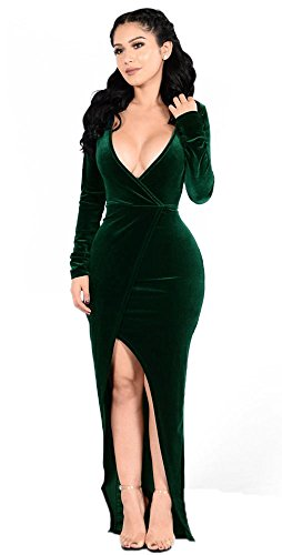 Women's V Neck Maxi Prom Dress with Front Split Dark Green XXL (Split Front Prom Dress compare prices)