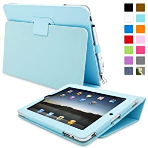 Snugg iPad 1 Case - Cover with Flip Stand & Lifetime Guarantee (Baby Blue Leather) for Apple iPad 1