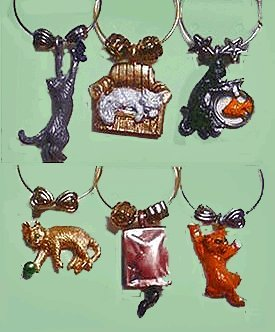 All About Cats Wine Glass Charms from Wine Things Unlimited