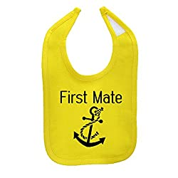We Match! Unisex-Baby First Mate (Matches The Captain & First Mate Set) Cotton Baby Bib (Yellow)