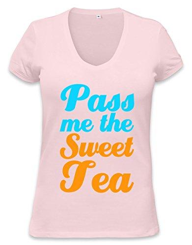 Pass Me The Sweet Tea Funny Slogan T-Shirt Womens V-Neck T-Shirt Medium