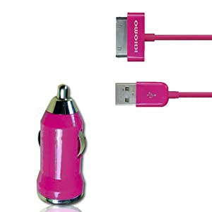 KHOMO Pink Color MINI USB Car Power Adapter Charger + USB SYNC Cord Cable for Apple iPhone 4G 4S iPod Nano iPod Touch