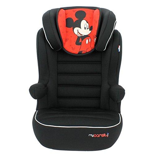 Seggiolino auto e rialzo Disney con schienale Comfort e inclinabile da 15a 36kg-Fabbricazione 100% francese-3stelle Test TCS-10personaggi Disney-Protezioni Laterali-Poggiatesta imbottito e regolabile.