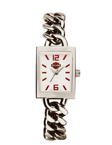 Harley-Davidson® Women's Bulova Wrist Watch. White Enamel Dial. Sweep Second Hand. Harley Logo®. Chainlink Bracelet. WR50m/165ft. 76L154
