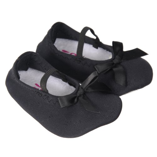 Sallazzo Baby Satin Bow All Dolled Up Slipper Shoe Black Medium front-12982