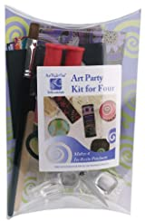Art Night Out Party Kit for 4 People Makes 4 Rounded Square Resin Pendants in Silver Plate