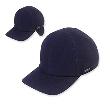 KENT - Classic Wool Baseball Cap with Earflaps By Wigens (54, Navy)
