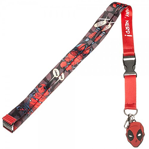 Marvel Comics Deadpool Lanyard with Rubber Charm and Collectible Sticker