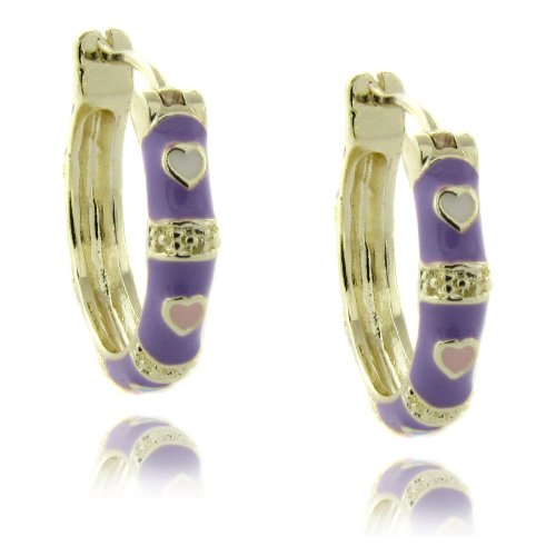 Lily Nily 18k Gold Overlay Purple Enamel Heart Design Children's Hoop Earrings