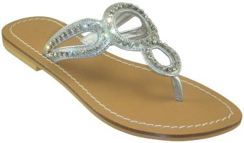 146831911377d Skemo Circle Women s Capri Style Flat Silver Thong Sandals