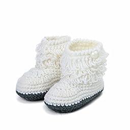 Mosunx (TM) Unisex Boy Girl Baby Newborn Infant Hand Knitting Crochet Beige Tassel Buckle Shoes Socks Boots (White)