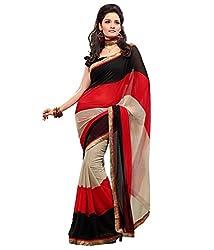 SSI Chiffon Saree (SSI JINDAL_Red Black)