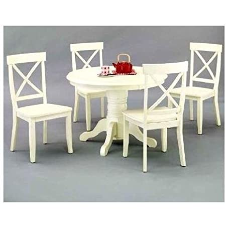 Round Dining Table And Dining Chairs Antique White