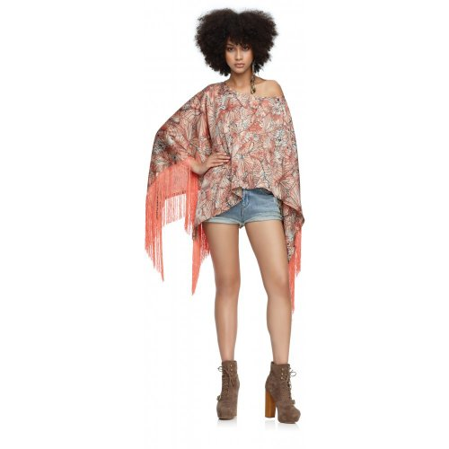 House of Dereon Poncho  fringe butterfly print