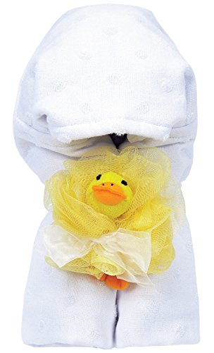 AM PM Kids! Hooded Towel with Baby Loofah, White Dot - 1