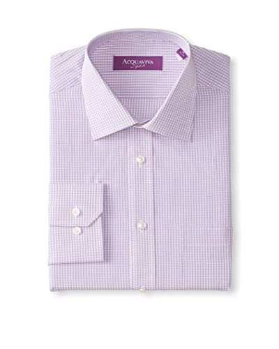 Acquaviva Men's Mini Check Barrel Cuff Dress Shirt