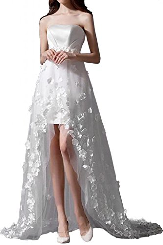 MiLano Bride Romantic A-line Hi-Lo Train Strapless Tulle Floral Reception Dresses