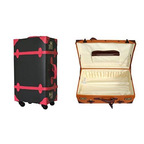 【1年保証付】4輪 PVC スーツケース 小型 ブラック×ローズ