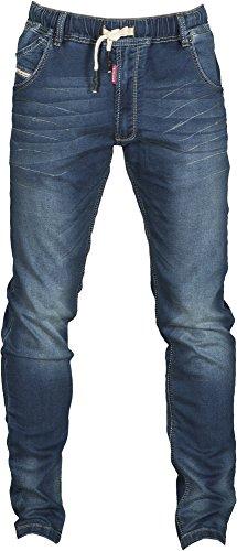 Pantalone Jeans Uomo in Denim Elasticizzato Slim Con Cinque Tasche Passanti in Vita Payper Los Angeles, Colore: Deep Blue, Taglia: 52