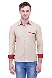 Trendster Brown Solids Full Sleeve Casual Men's Shirt