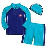 男児用水着3点セット (スイムキャップ・長袖ラッシュガード・パンツ水着) UPF50+素材使用 (85~90cm,ブルー系)