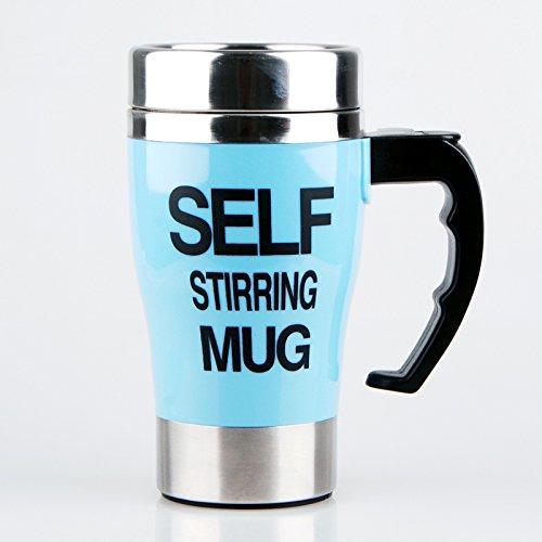 KookieMonsta 500ml Mixer Automatic Electric Self Stirring Coffee Mug Stainless Steel Mixing Drinking Cup Skinny (Blue)