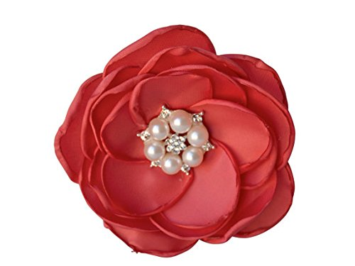 MIA White Satin Flower Rhinestone Pearl Hair Clip Wedding Hair Clip Bridal Hair Clip Bridesmaid Hair Clip First Communion Hairpiece Girls Hair Clip (Coral)