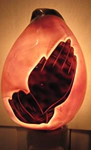Praying hands - Jesus is the Light - Crucifix - Hand Carved Cowry Shell Night Light , Model A - Praying Hands