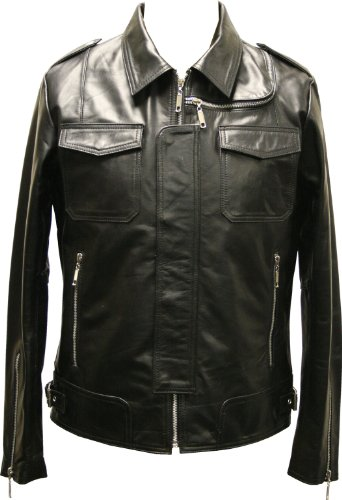 Mens Black Modern Biker Real Leather Fitted Jacket Military Vintage Coat Premium - L / 42