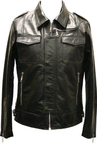 Mens Black Modern Biker Real Leather Fitted Jacket Military Vintage Coat Premium - L / 42