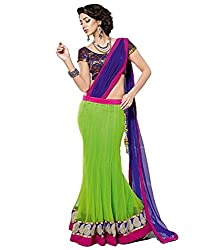 Green Net and Brocade Lahenga Choli Garnished With Resham Embroidery and Lace...