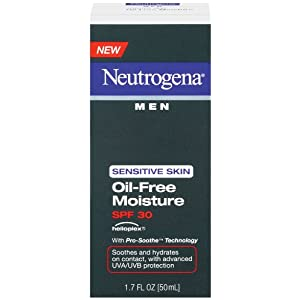Neutrogena guys delicate dermis Oil-Free Moisture, SPF 30, 1.7 Ounce (Pack of 3)