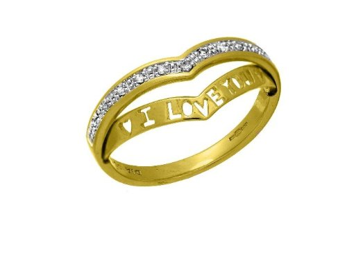 9ct Yellow Gold 'I Love You' Diamond Wishbone Ring - Size P