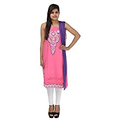 Kashish Creations Women Zari Pink & Purple Semi Stitched Salwar Suit
