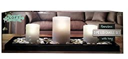 Loft Living Flameless 3 Piece LED Candle Set with Tray