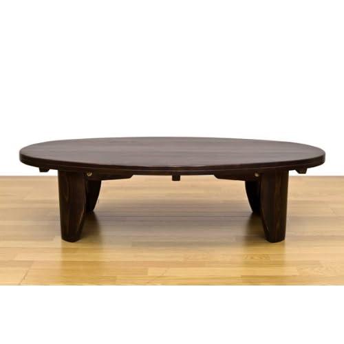 フリーローテーブル マルチデスク おしゃれなオーバルタイプ!ダークブラウン