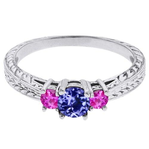 0.56 Ct Round Blue Tanzanite Pink Sapphire 14K White Gold 3-Stone Ring