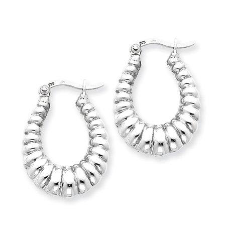 Oval Shrimp Hoop Earrings in Silver - 22mm (7/8