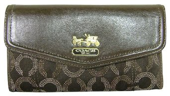 Coach 44435 Op Art Signature Checkbook Wallet Brown