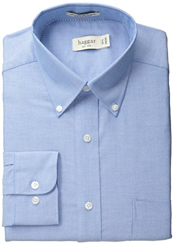 Haggar Men's Pinpoint Oxford Solid Long Sleeve Regular Fit Buttondown Collar Dress Shirt, Bright Blue, 17x34/35 (Dress Shirts 17 34 35 compare prices)