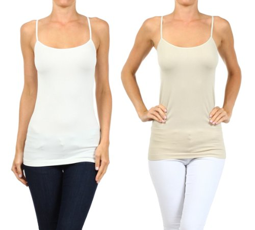 Fashion Mic Womens Basic Solid Color Nylon Cami Top (one size, 2pack:wht/oys)
