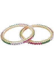 Goonj The Rhythm Of Jewels Fancy CZ Bangles For Women B28 (Size 2.6) - B00PFRQAB6