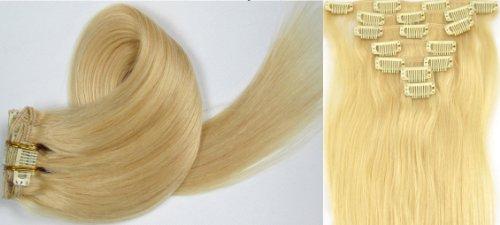 Clip-In-Extensions für komplette Haarverlängerung - hochwertiges Remy-Echthaar - 70g - 38 cm -7tlg- Nr.613 Platinum Blonde