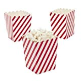 "Paper Mini 4"" Red and White Striped Popcorn Boxes 24 pc"