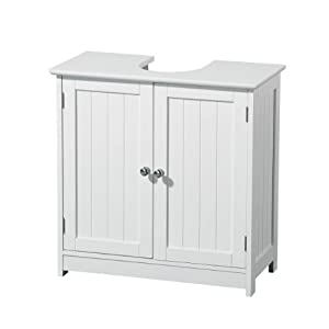 Quality white wood under sink cabinet bathroom storage for Bathroom cabinets 60cm