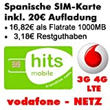 Pay as you go SIM for SPAIN with 1GB of free data traffic, Vodafone network