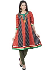 Zovi Women's Cotton Orange And Black Printed Anarkali Kurti With Embroidery (10706352901)