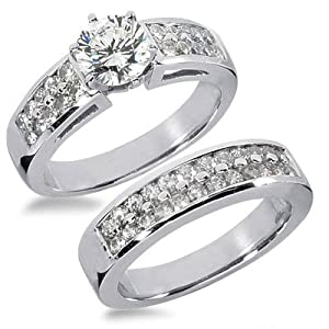 1.67 Carats Two Rows Diamond Engagement Ring Set
