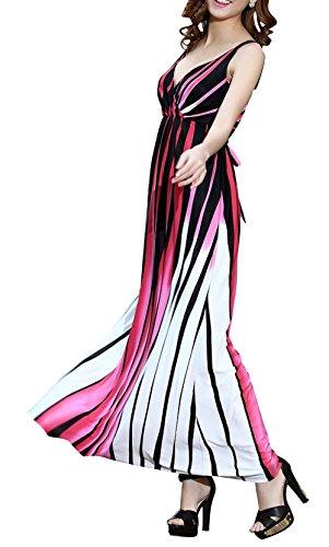 Dapene® Women New V-Neck Sleeveless Stripes Beach Long Red Formal Dress 2Xl